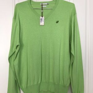 Peter Millar Cotton Cashmere Sweater Green Vneck L
